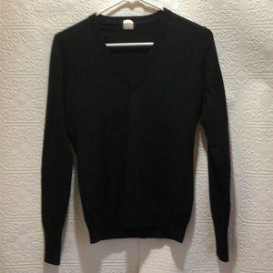 J.Crew Black V Neck Wool Sweater